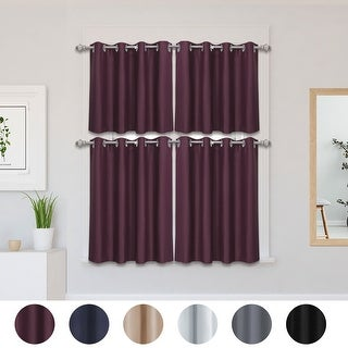 2 Pcs Polyester Blockout Curtains Panel Rod Thermal Insulated Tiers