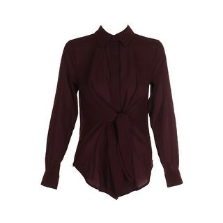 Inc International Concepts Port Red Mixed-Media Tie-Front Shirt S