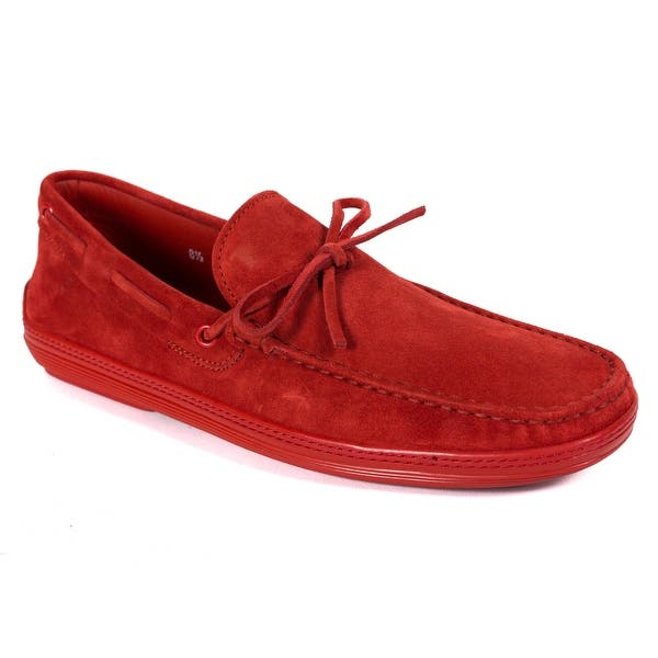 9bf85fa5f9b Shop Tod's Men's Red Suede Red Sole Front Tie Moccasins RTL$695 ...