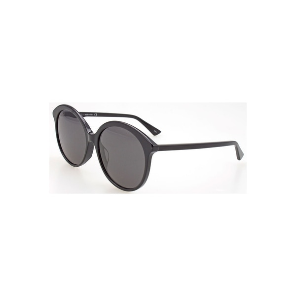 9a10d65df8 Shop Gucci Grey Round Sunglasses Gg0257Sa-001 59 - BLACK-BLACK-GREY - One  Size - Free Shipping Today - Overstock - 24266504