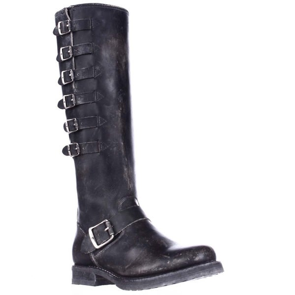 FRYE Veronica Belted Tall Multi Buckle Strap Boots, Black - 5.5 us