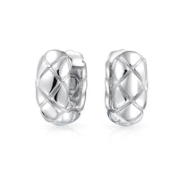 5d5a53a84 Criss Cross Quilt Craved Wide Kpop Huggie Small Hoop Earrings for Women For  Men Shiny 925