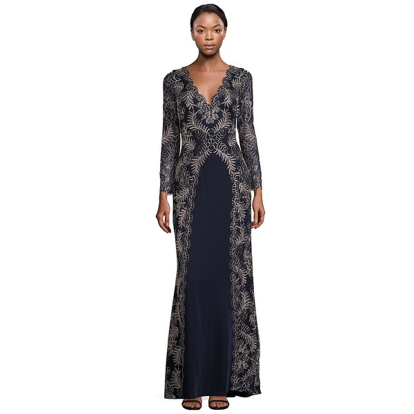 Shop Tadashi Shoji Lace Embroidered V Neck Long Sleeve Evening Gown