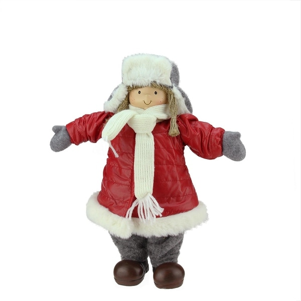 "12.25"" Cheerful Young Girl Gnome in Red Puffy Winter Coat and Gray Hat Christmas Decoration"