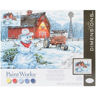 "Paint Works Paint By Number Kit 20""X16""-Country Snowman"