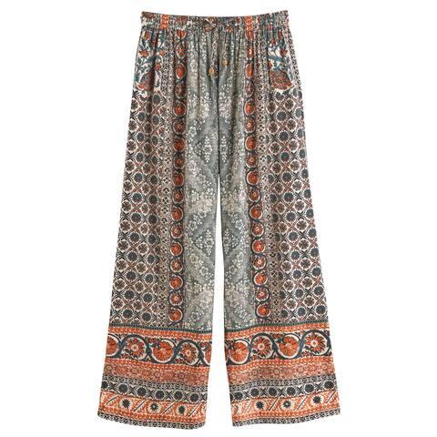 Catalog Classics Women's Damask Print Pants - Wide Leg Lounge Pants Pajamas