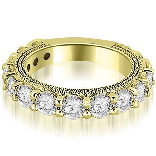 1.90 cttw. 14K Yellow Gold Antique Round Cut Diamond Wedding Band