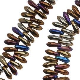 Czech Pressed Glass 3 x 10mm Dagger Beads - Brown Iris (50)