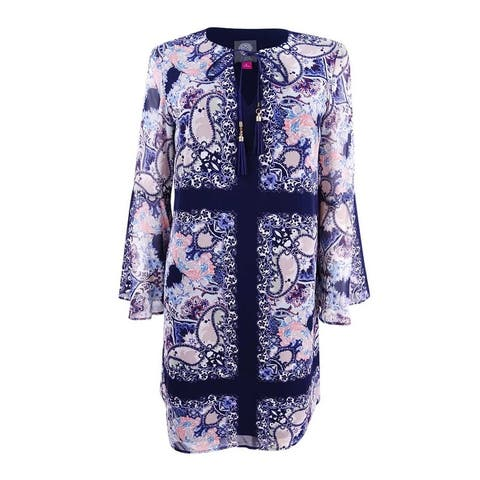 Vince Camuto Women's Paisley-Print Bell-Sleeve Shift Dress - Blue