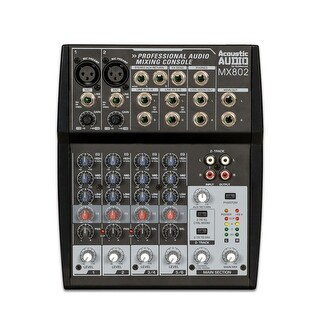 Acoustic Audio MX802 Mixer 8 Channel 2-Bus Premium Pro Audio Mixing Console