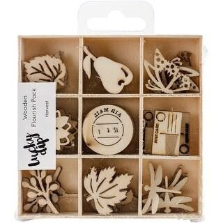 Themed Mini Wooden Flourishes 45/Pkg-Harvest