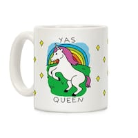 Yas Queen Unicorn White 11 Ounce Ceramic Coffee Mug by LookHUMAN