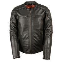 Mens Quilted Black Leather Scooter Jacket