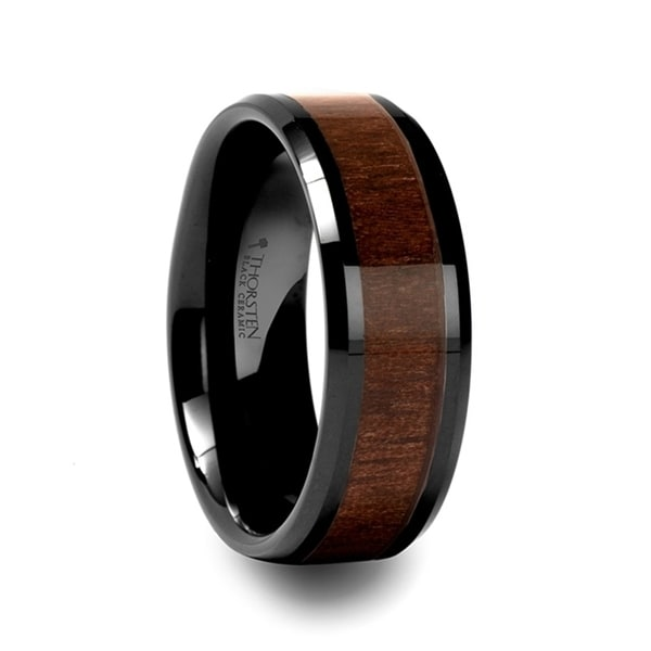 YUKON Beveled Black Ceramic Ring with Black Walnut Wood Inlay 8mm