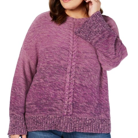 Style & Co. Womens Sweater Purple 3X Plus Cable Knit Marled Ombre