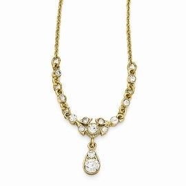 Goldtone Downton Abbey Clear Glass Necklace - 16in