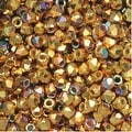 True2 Czech Fire Polished Glass, Faceted Round 2mm, 50 Pieces, 24K Gold Plated - Thumbnail 0
