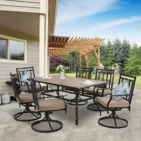 MFSTUDIO Patio Dining Set 7 Pieces Metal Furniture Set Outdoor, 6 x Swivel Chairs with 1 Wood Like Umbrella Table
