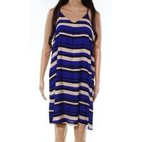 Vince Camuto Blue Women's Size XL Striped V-Neck Shift Dress
