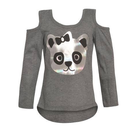Little Girls Charcoal Bear Face Detail Cold-Shoulder Long Sleeved Top