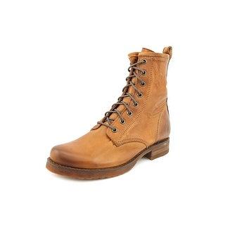 Frye Veronica Combat Women  Round Toe Leather Brown Combat Boot