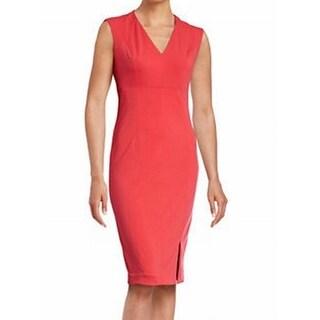 T Tahari NEW Coral Pink Womens Size 12 V-Neck Sleeveless Sheath Dress