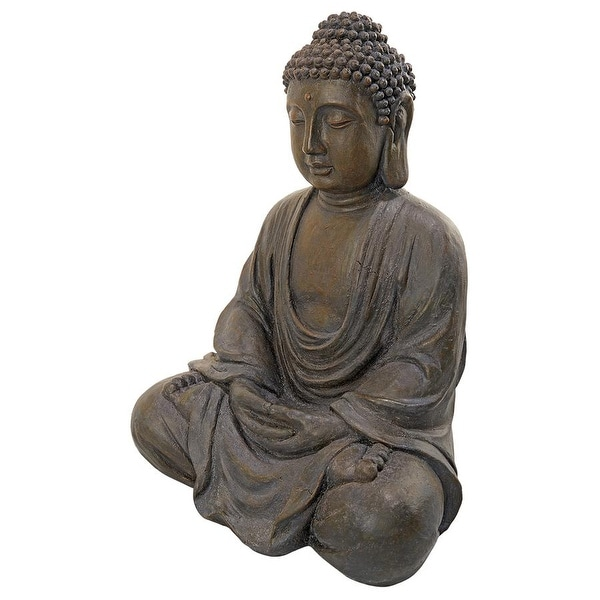 Design Toscano Meditative Buddha of the Grand Temple: Dark Stone, Medium