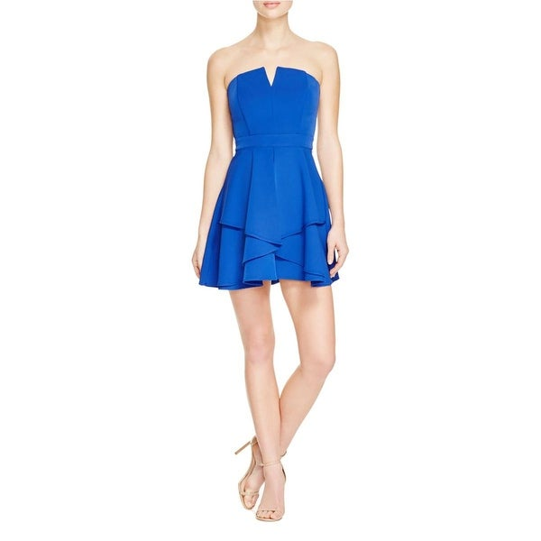 Adelyn Rae Womens Cocktail Dress V Neck Layered Skirt