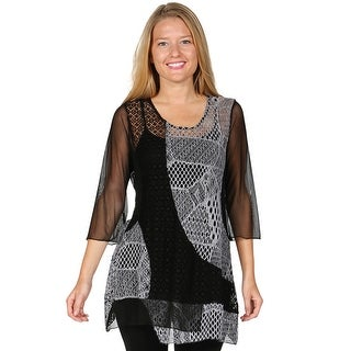 Women's Tunic Top - Sheer Lacy Asymmetrical Hem Layering Shirt