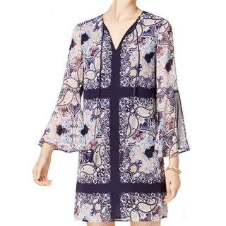 Vince Camuto NEW Purple Womens Size 16 Paisley Bell-Sleeve Shift Dress