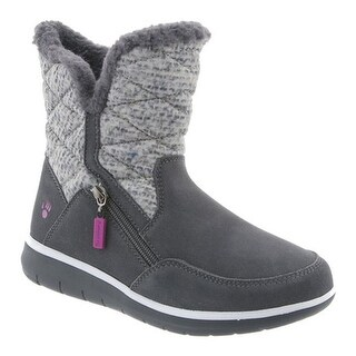 Bearpaw Women's Katy Ankle Boot Charcoal Suede/Quilted Nylon
