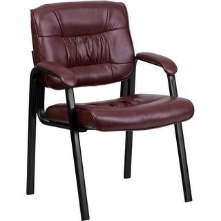 Silkeborg Burgundy Leather Executive Side Reception Chair w/Black Frame Finish