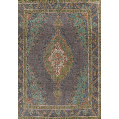 """Distressed Tabriz Persian Home Decor Area Rug Hand-knotted Wool Carpet - 10'1"""" x 13'1"""""""