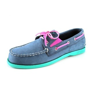 Sperry Top Sider A/O Slip On Youth Moc Toe Leather Blue Boat Shoe