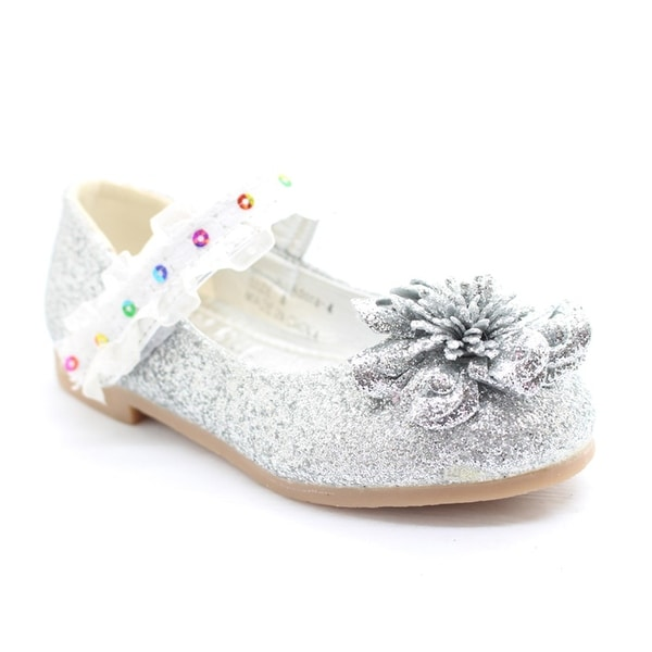 acdf3e931e6a Shop Little Girls Silver Glitter Lace Sequin Trim Flower Dress Shoes - Free  Shipping On Orders Over  45 - Overstock - 23090328