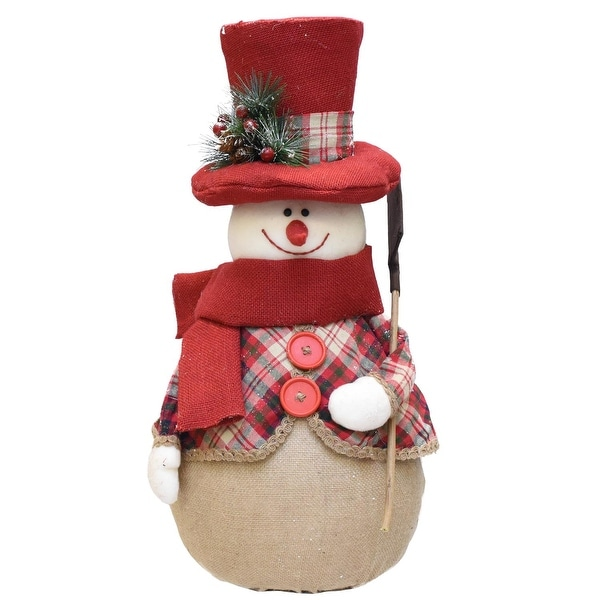 "22.75"" Red and Brown Plaid Snowman with Shovel, Scarf and Top Hat Table Top Christmas Figure"