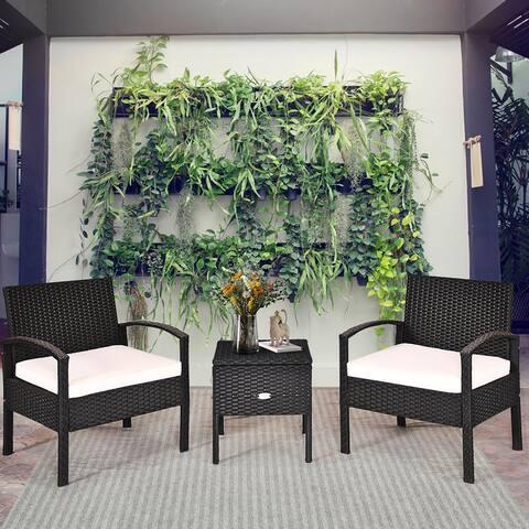 Costway 3PC Outdoor Patio Rattan Furniture Set Storage Coffee Table - Black/Beige