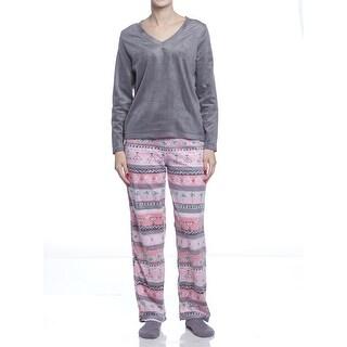 Hue Sleepwear Women's Fairisle Tropicana Fleece Pajama Set With Socks