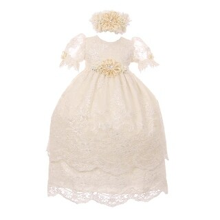 RainKids Baby Girls Ivory Puff Sleeve Headband 3 Pc Baptism Gown Set