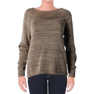 Lauren Ralph Lauren Womens Pullover Sweater Open Stitch Jewel Neck