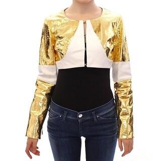 Vladimiro Gioia White Gold Metallic Leather Jacket