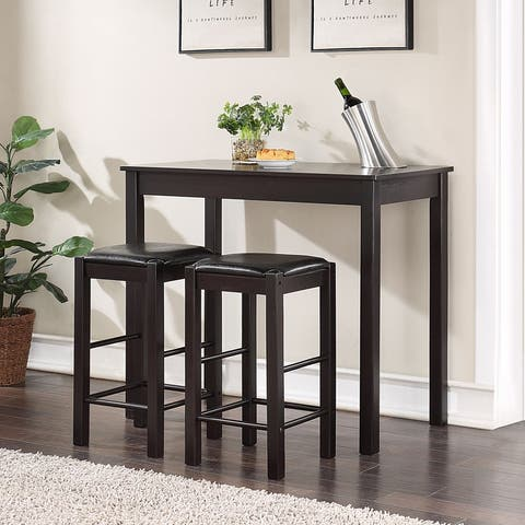 3 Piece Wood Dining Set Counter Height Table and Cushioned Stools
