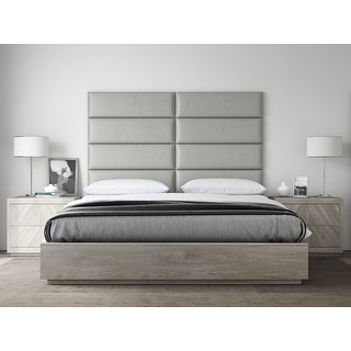 VANT Upholstered Headboards - Accent Wall Panels - Vintage Leather Light Grey -  Twin - King Size Headboard - Set of 4 panels