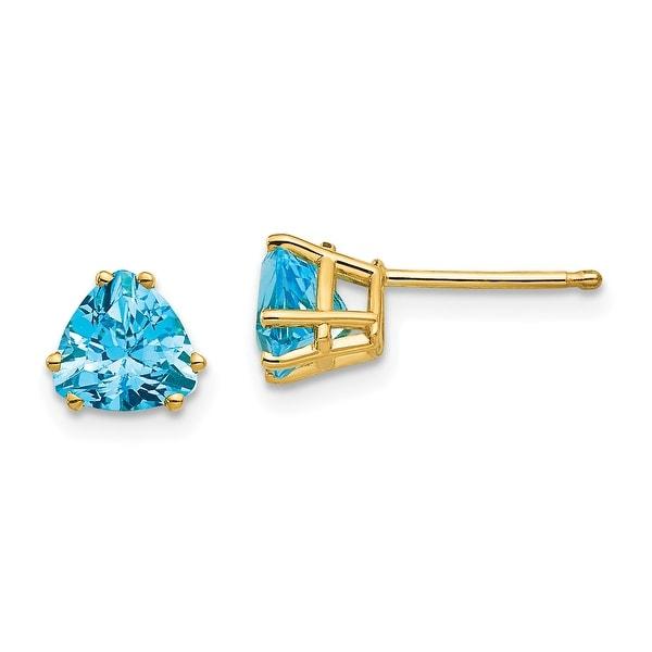 14K Yellow Gold 6mm Trillion Blue Topaz Earrings by Versil. Opens flyout.