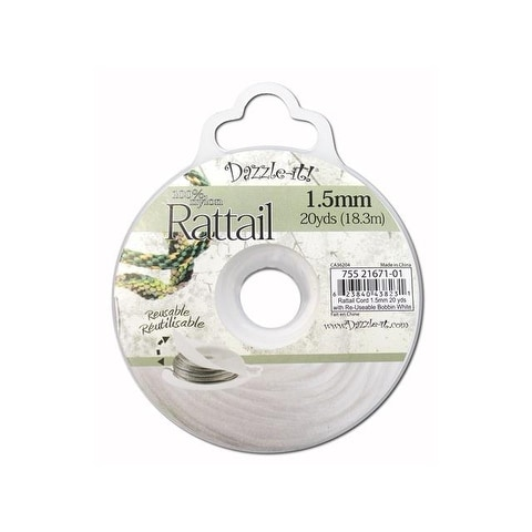 Dazzle It Rattail Cord 1.5mm 20yd White