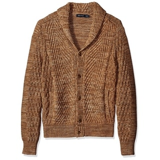 Nautica NEW Brown Mens Size Small S Shawl Collar Cardigan Sweater