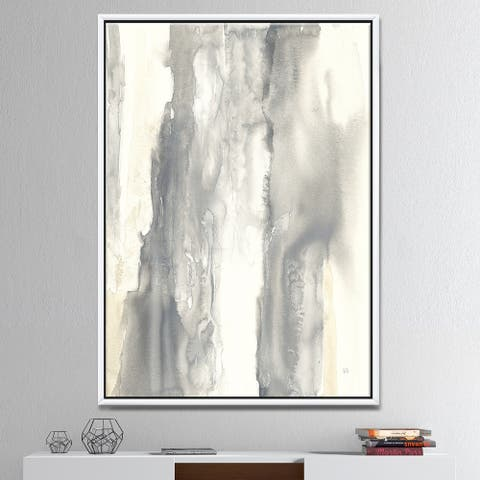 Designart 'Gold Glamour Direction I' Modern & Contemporary Framed Canvas - Grey