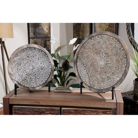 Eclectic Hand-Carved Wood Wall Decor with Tribal Design, Set of 2 - 20 x 3 x 20Round