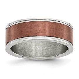 Stainless Steel 8mm Chocolate-plated Brushed & Polished Band
