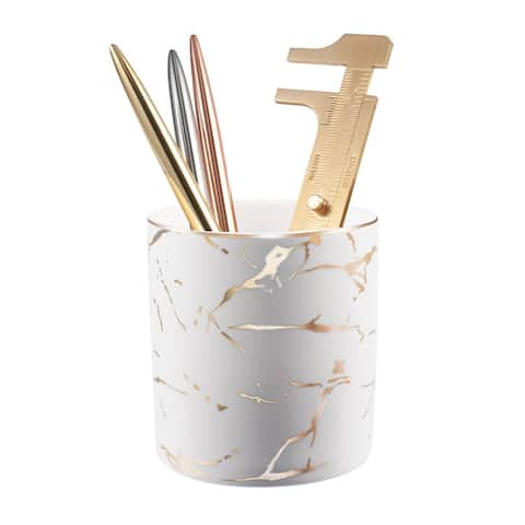 """Zodaca Pen Holder, Ceramic Marble Pencil Cup Desk Organizer Makeup Brushes Holder with Gold Accent, White Golden - 3.43"""" X 3.74"""""""
